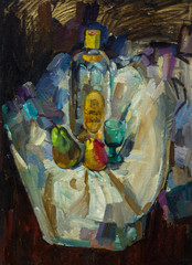 Beautiful Original Oil Painting with still life with bottle of pear a glass fabric  On Canvas in the style of Impressionism