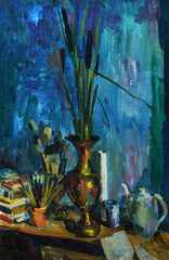 Beautiful Original Oil Painting with still life with  vase on the table with cane brush candle, teapot, books On Canvas in the style of Impressionism