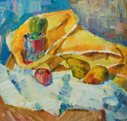 Beautiful Original Oil Painting with still life with  an apple pear cactus cloth On Canvas in the style of Impressionism