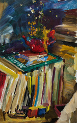 Beautiful Original Oil Painting with still life with  train, books, teapot with flowers On Canvas in the style of Impressionism
