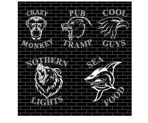 Логотип с силуэтом на фоне кирпичной стены.