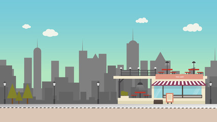 the cafe Flat design modern vector illustration icons set of urban landscape and city life. Building
