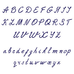 Hand drawn calligraphic font. Thin italic vector on white background. Uppercase and lowercase letters.
