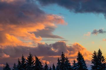 Winter dramatic orange sunset.