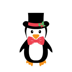 penguin with tie and hat