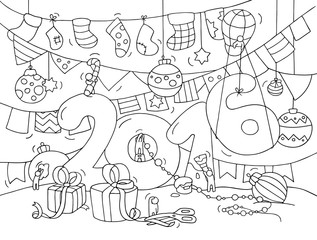 2016 Happy New Year Eve greeting card. Cartoon doodle illustration with liitle people prepare to cel