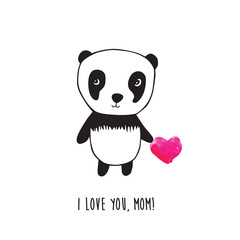 Happy Mother's Day. Greeting card for Mother's Day, Valentine's Day, birthday with panda and pink watercolor heart.