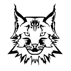 Vector illustration of  lynx face black and white tattoo