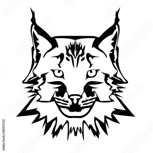 """""""vector illustration of lynx face black and white tattoo"""