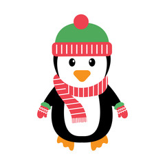 penguin with a scarf and hat