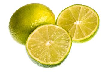 Плоды лайма на белом фоне