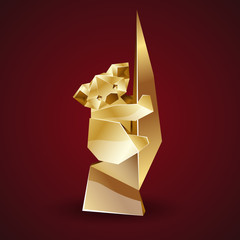 vector golden origami koala