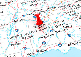 Red Thumbtack Over Alabama, Map is Copyright Free Off a Governme