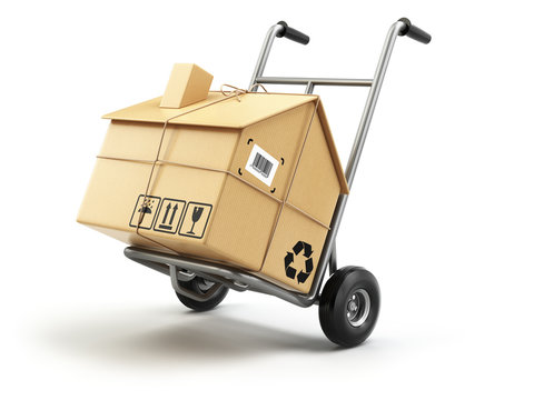 Hand truck with cardboard box as home isolated on white. Deliver