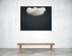 Black picture with white cloud with wooden bench in empty loft r