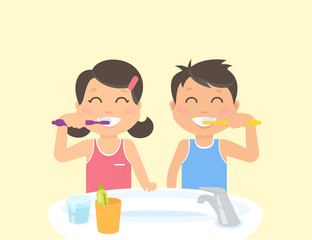 Happy kids brushing teeth standing in the bathroom near sink. Flat illustration of children teeth care and healthy lifestyle and hygiene