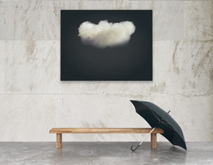 Black picture with cloud and wooden bench with black umbrella on