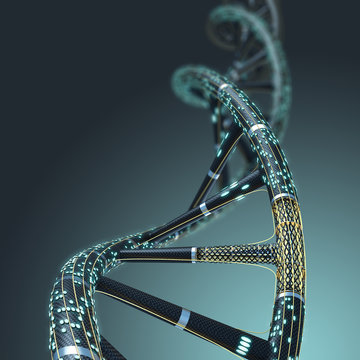 Artificial DNA molecule, the concept of artificial intelligence,