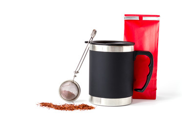 Insulated Cup with Red Paper Bag and Tea Infuser
