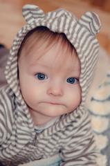 Cute baby in hood with ears