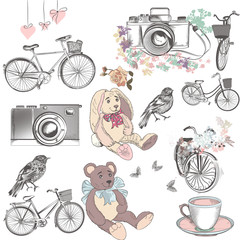 Cute collection of vector hand drawn objects bicycles camera toy