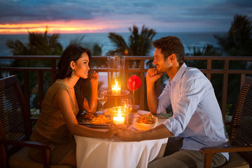 Romantic couple have dinner  outdoor
