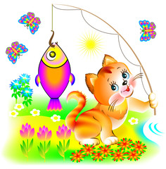 Illustration of happy cat which has caught the fish, vector cartoon image.