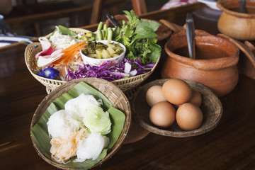 Thai rice noodle and vegetable