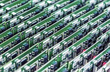 Lots of Printed Circuit Boards With Mounted and Soldered Componentry