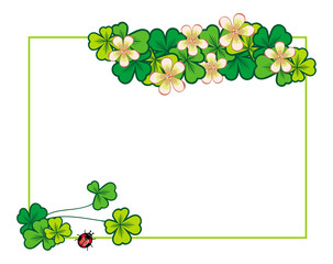 Horizontal frame with blooming clover