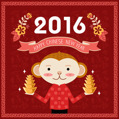 Chinese new year greeting card for the year of monkey 2016 with monkey character holding Chinese gold bars.