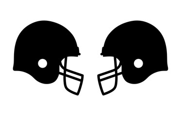 American gridiron football match with helmets flat icon for apps and sports websites