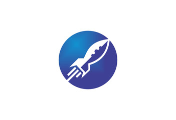 spaceship modern rocket logo