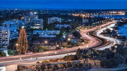Night view with light trails in Perth, Australia