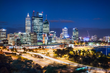 Night view with skyscrapers and  light trails in Perth, Australia
