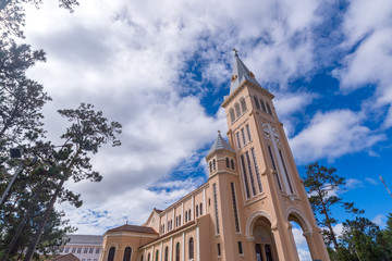 Da Lat Cathedral, Cathedral of the chicken on blue sky backgroun