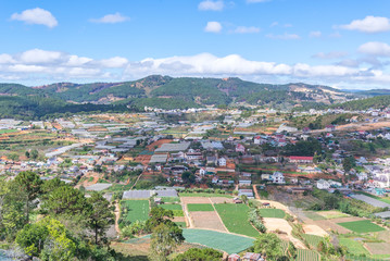 Colorful Dalat city from high view in early morning view from ca