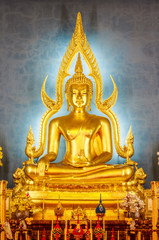 Golden Buddha statue in the Marble Temple or Wat Benchamabophit temple, Bangkok Thailand