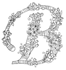 Decorative zentangle letter