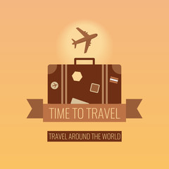 World Travel. Luggage and airplane. Tourism and vacation concept. Flat design vector illustration.