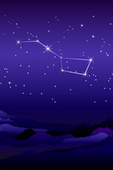Ursa Major constellation or The Greater or larger she-bear with a group of seven relatively bright stars commonly known as the Big Dipper. Night sky and landscape with mountains and hills silhouette.