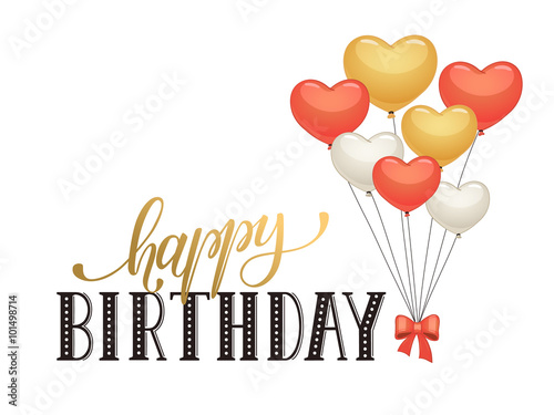 Modern Calligraphy Birthday Celebration Romantic Greeting Card In
