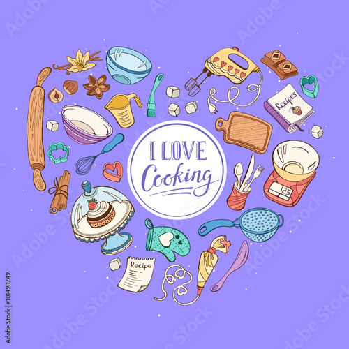 i love cooking baking tools in heart shape recipe book background