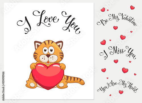Cartoon Cat With Heart I Love You I Miss You Be My Valentine You
