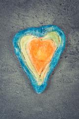 Vintage photo, Valentine heart made of salt dough, symbol of love