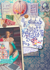 Collage,stamps and scraps background with astrological chart