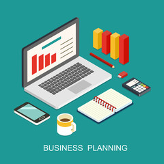Business planning flat 3d isometric art modern design concept vector icons composition collage.