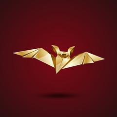 gold origami bat