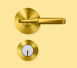Gold door handle and door lock.
