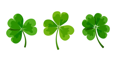 Vector set of green clover leaves (shamrock) isolated on a white background.